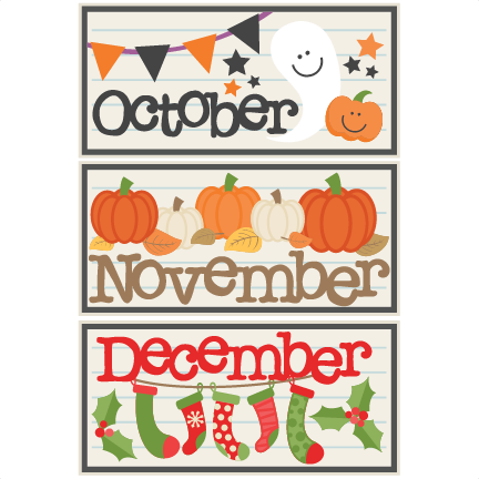 February clipart cutesy. October november december titles