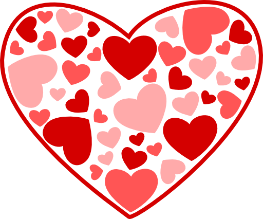 February clipart group heart. Clip art black and