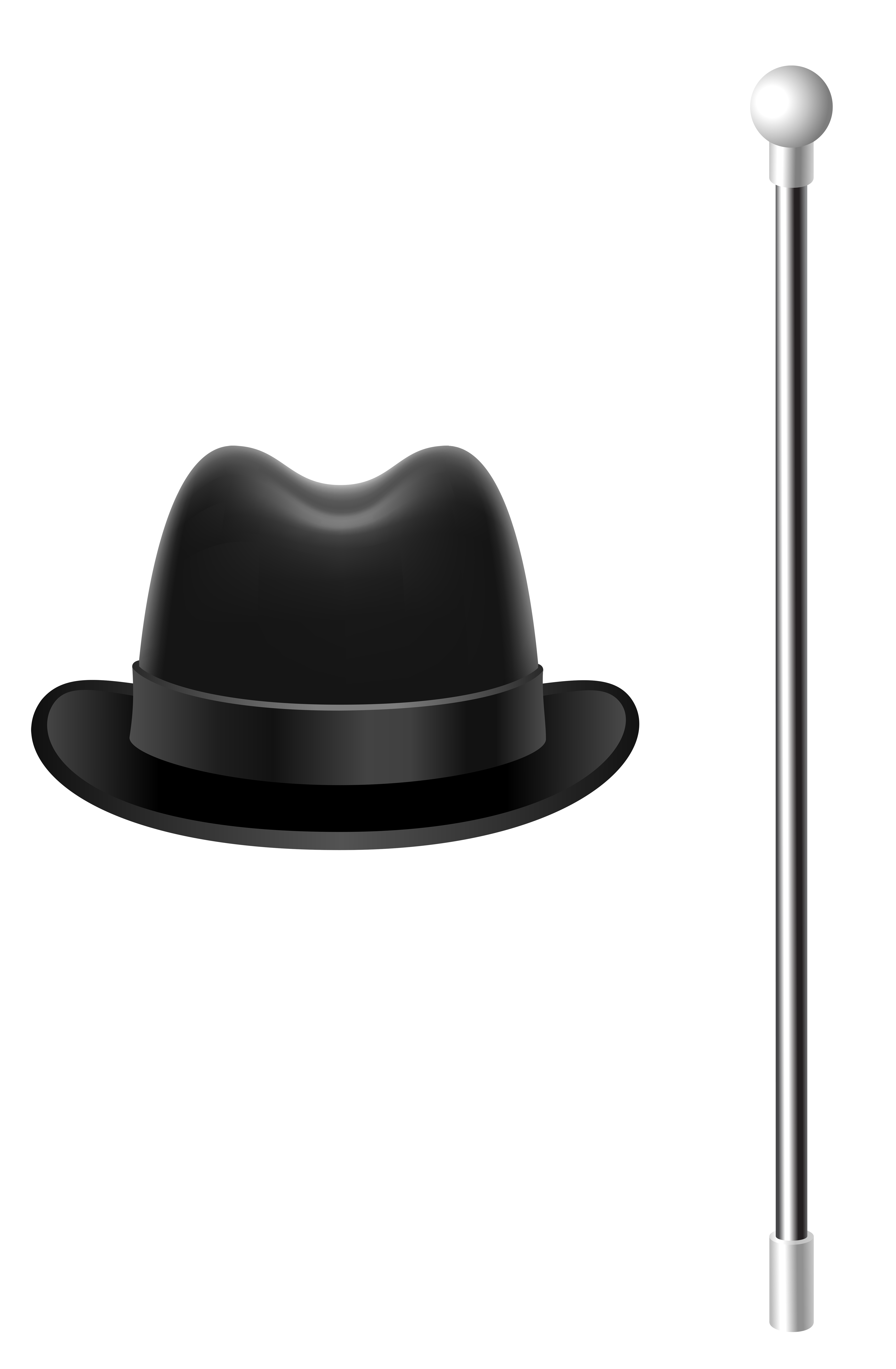 Hat with cane png. Fedora clipart picture black and white library