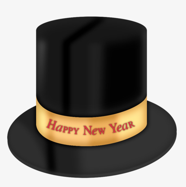Fedora clipart new year. Black spring festival hat