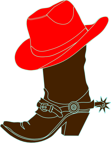 Fedora clipart red cowboy hat. Cowgirl and boot clip