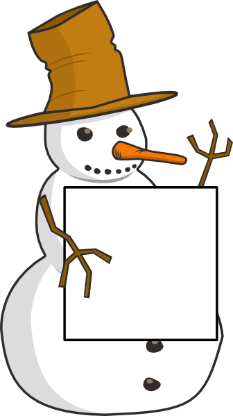 Snowman with sign clip. Fedora clipart snow man clip royalty free library