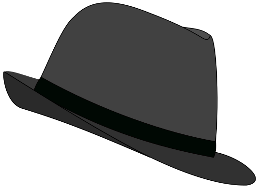 Hat gray clothes hats. Fedora clipart black and white