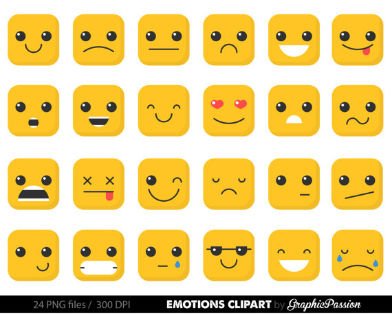 Feelings clipart basic emotion. Faces collage sheet emoji