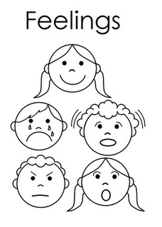 Feelings clipart color. Emotions printable pencil and