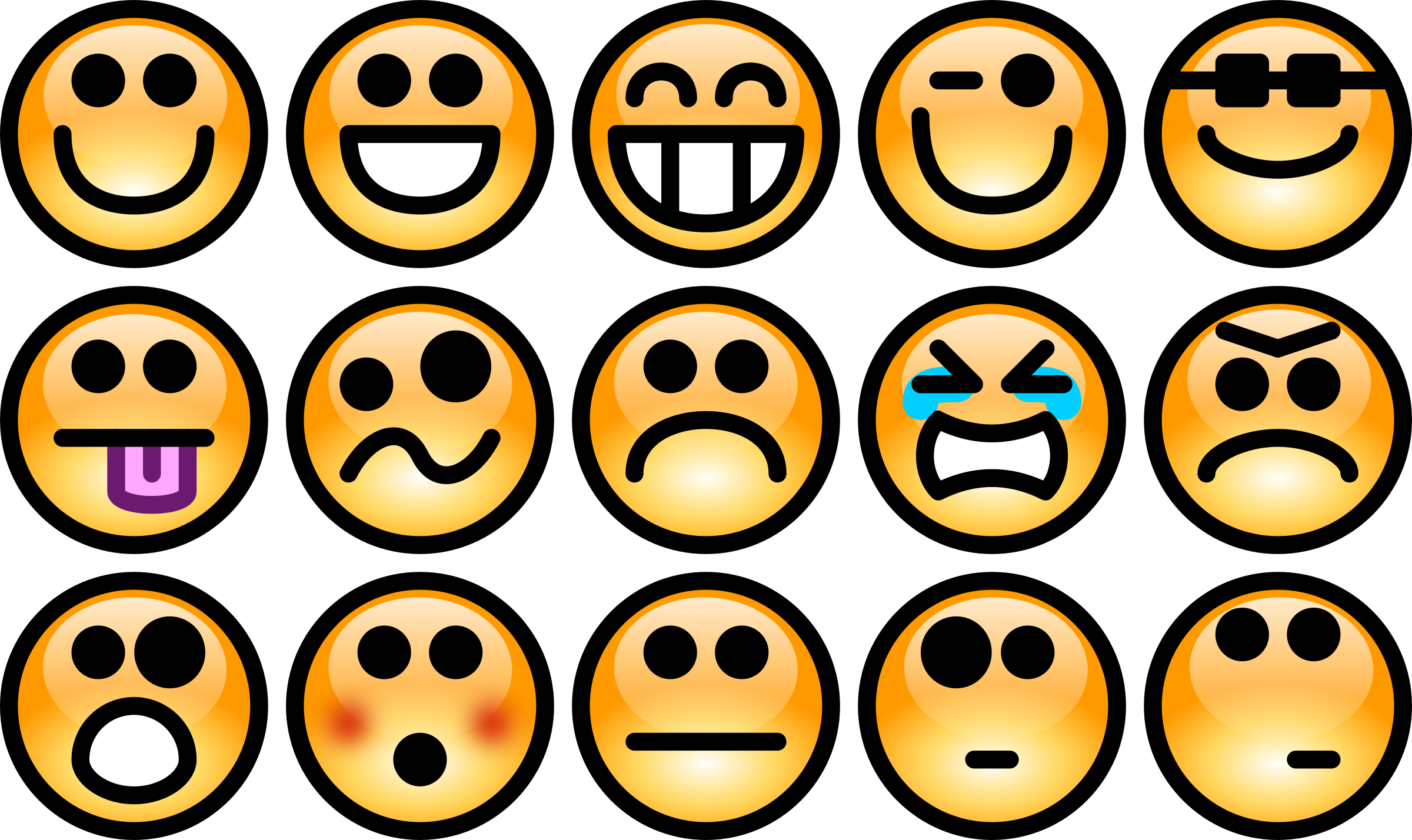 Feelings clipart emotion faces. Glossy smiley set big