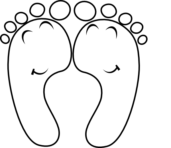 Toe drawing easy. Happy feet outline clip
