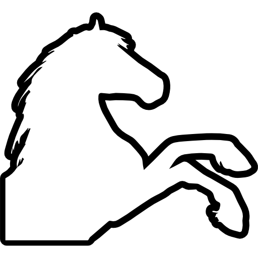 Feet clipart side view. Horse raising outline right