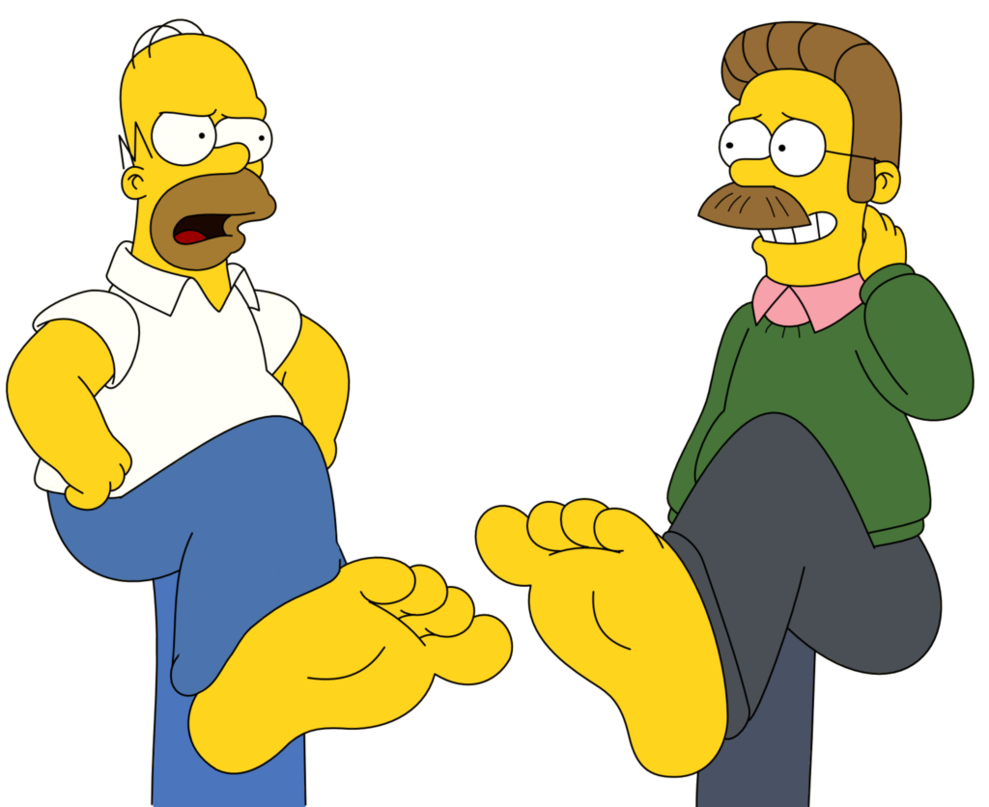 Feet stomping png. Homer simpson and ned