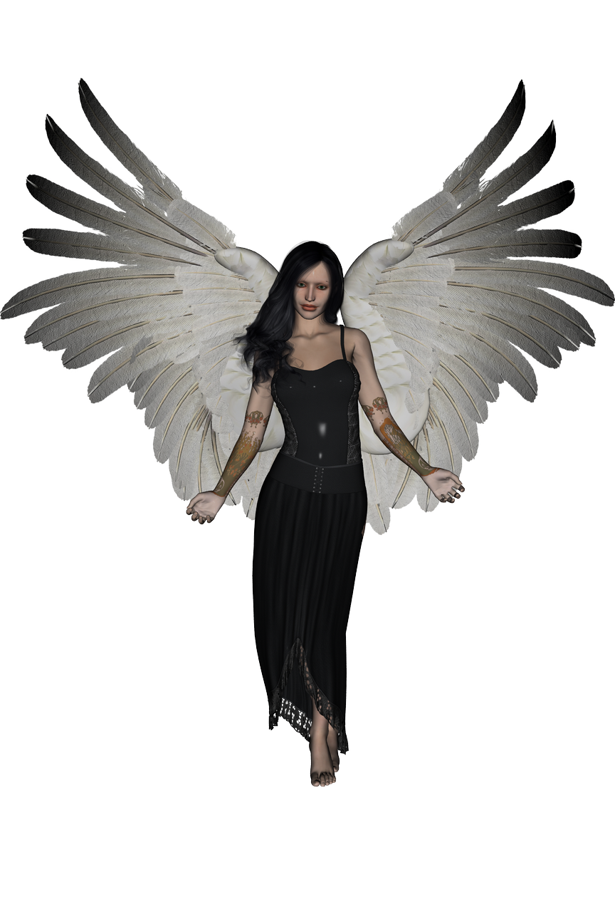 Female angel png. Black haired by umrae