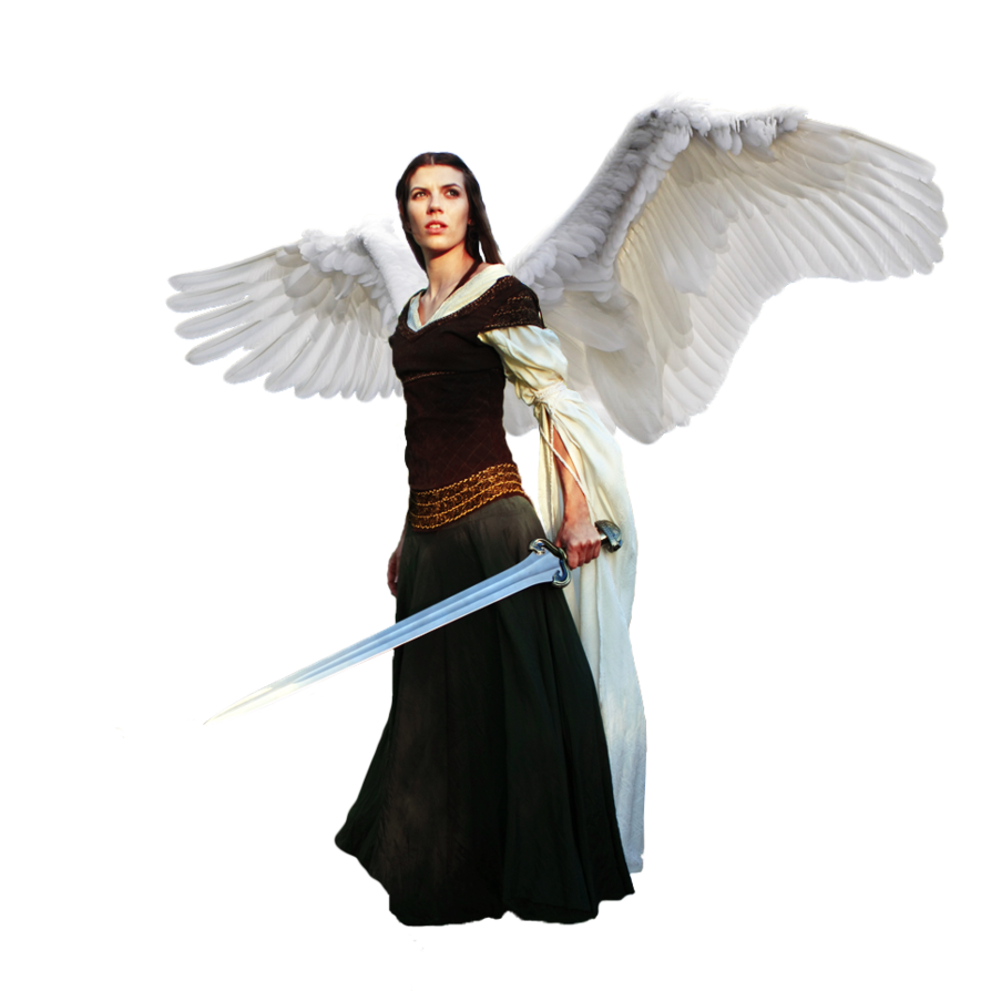 Female angel png. With sword cutout by