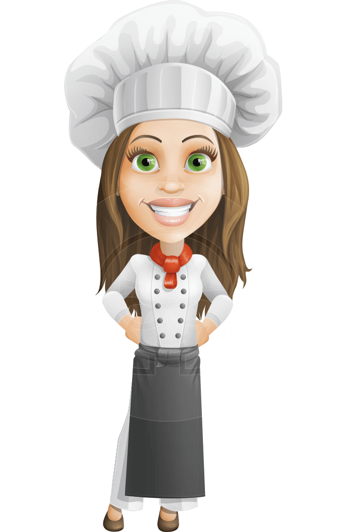 Vector women cartoon. Woman cook character monique
