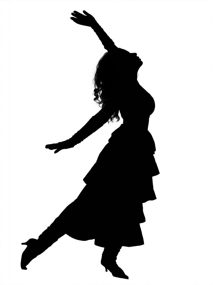 Girl silhouette at getdrawings. Lady clipart dance vector black and white stock