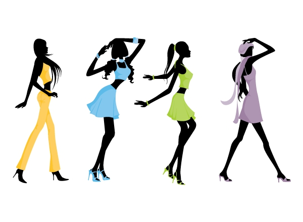 Female clipart fashion model. Silhouette clip art at