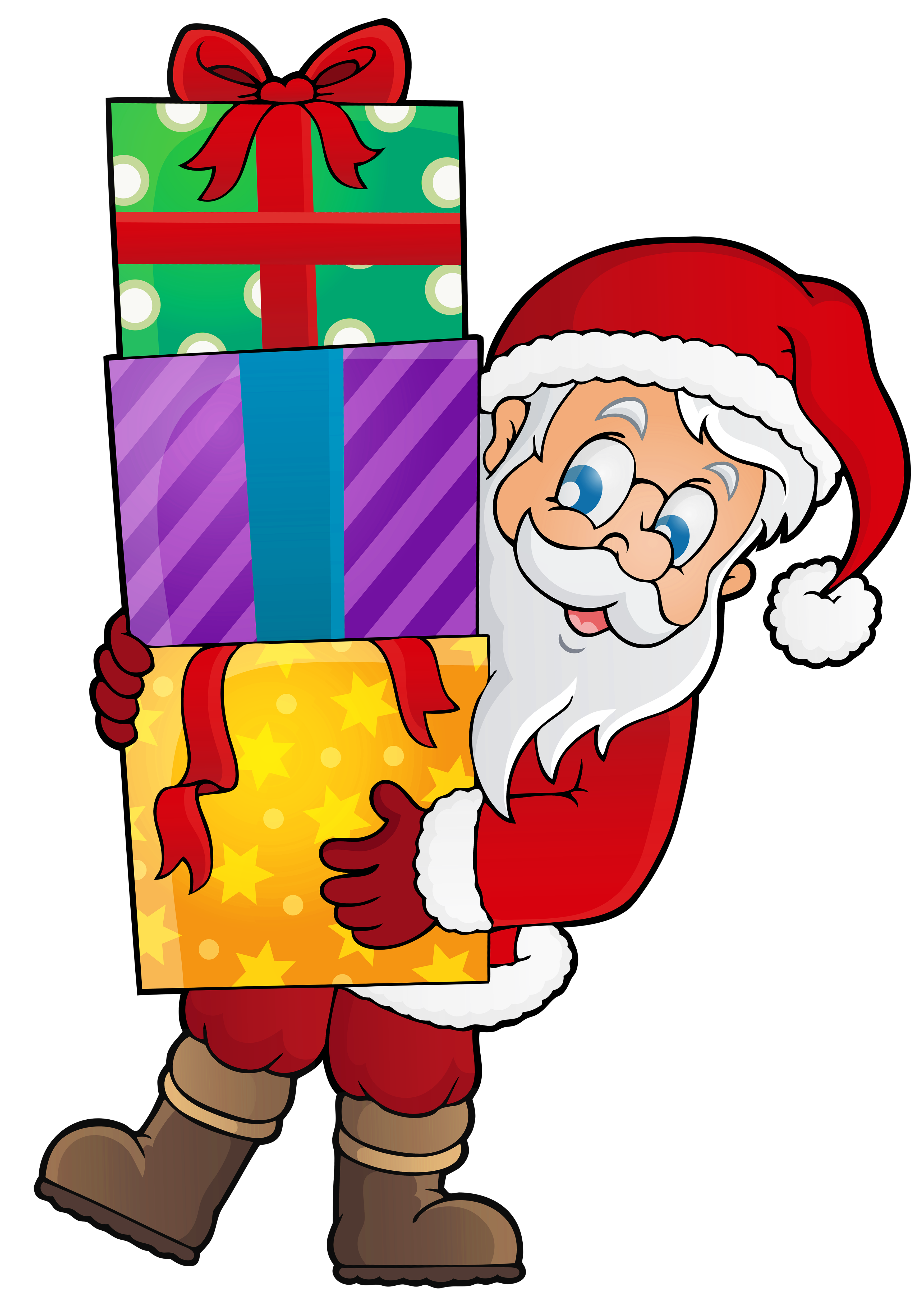 Female clipart santa claus. Transparent with presents png