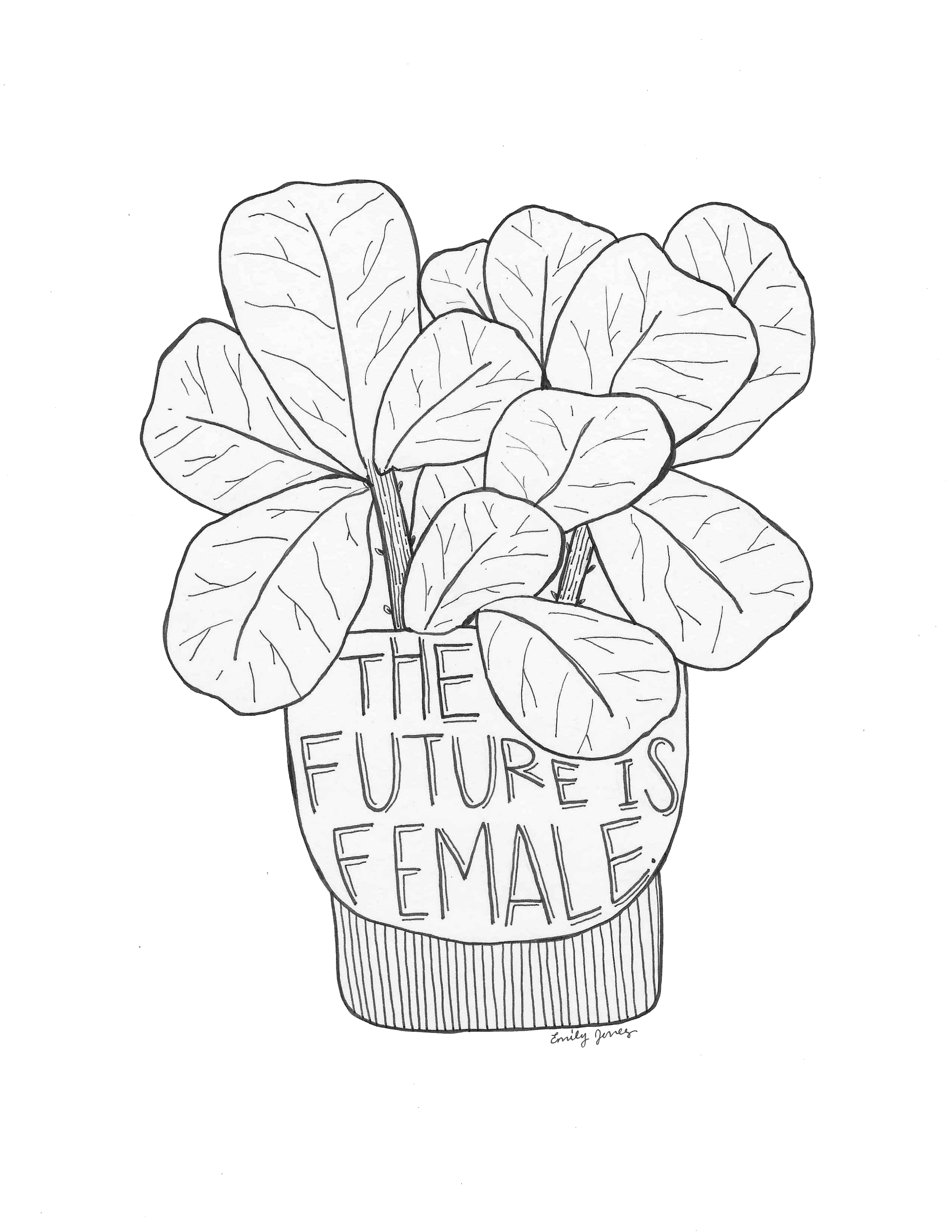 More plants than friends. Feminism drawing egalitarian picture library download
