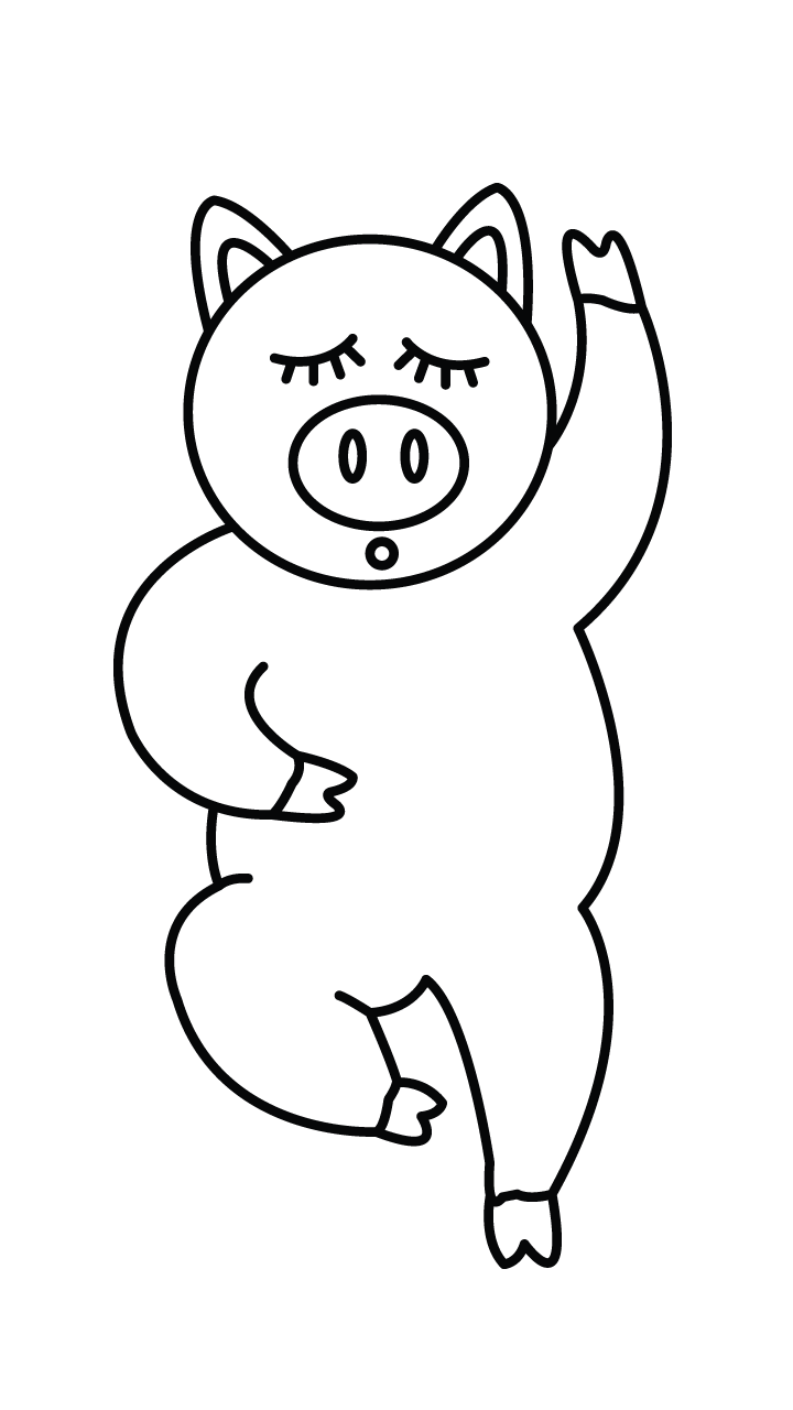 Femur drawing pig. Collection of free stomach