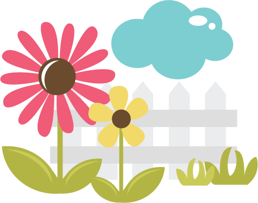 Fence svg clip art. Flowers with silhouette cameo