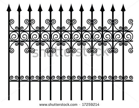 Fencing clipart fench. Ornate fence design cottage