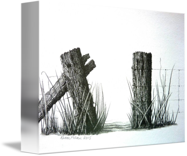 Fencing drawing pencil. Farm fence gateway by