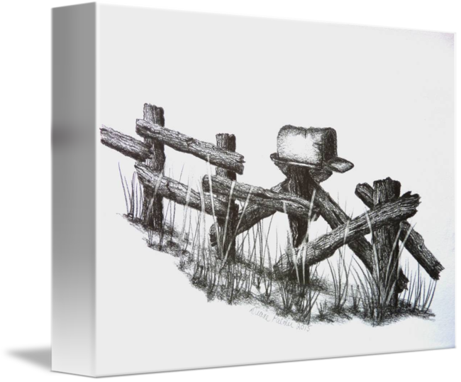 Fencing drawing pencil. Country rail fence mailbox