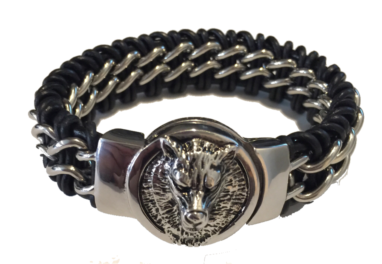 Fenrir drawing wolf. Braided steel and leather