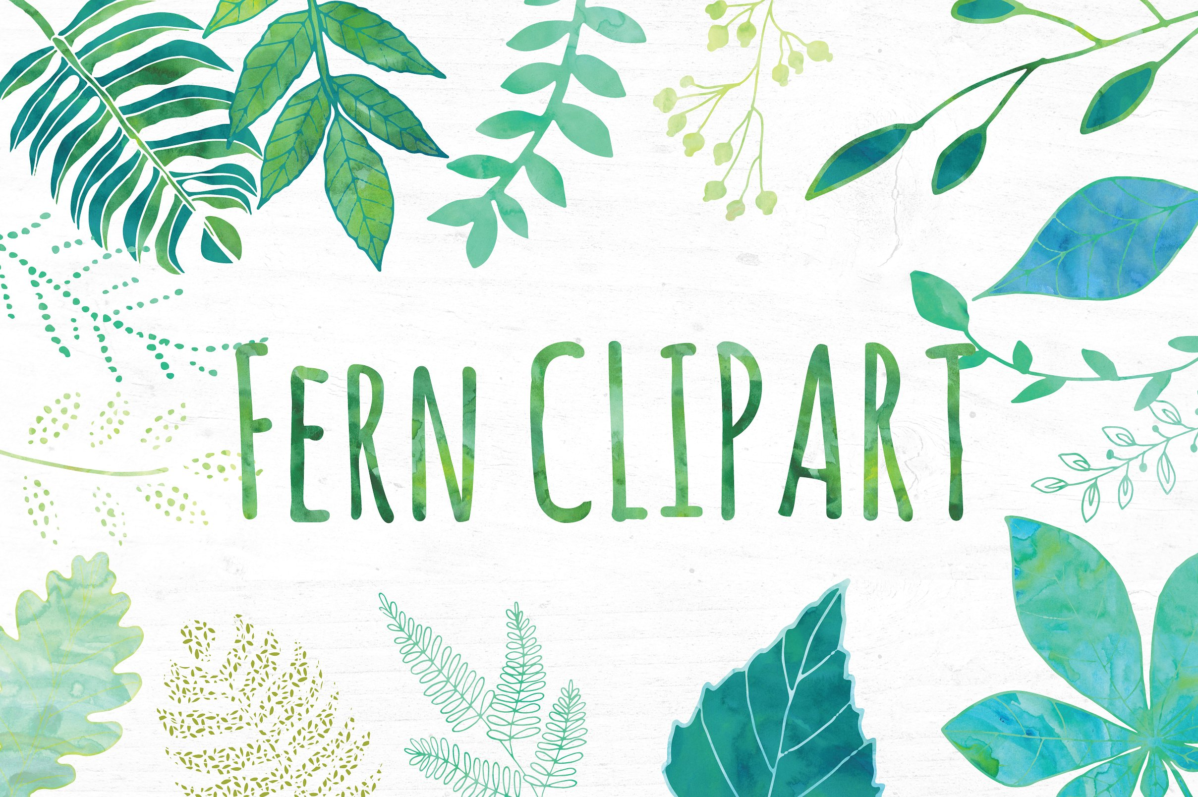 Fern clipart green fern. Watercolor leaf set illustrations
