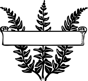 Fern clipart line art. Scroll ribbon title over