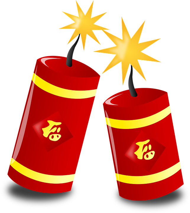 Firecracker vector bomb. Chinese new year png