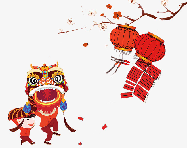 Festival clipart chinese new year. Spring style plum flower