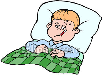 Boy in bed with. Fever clipart image royalty free library