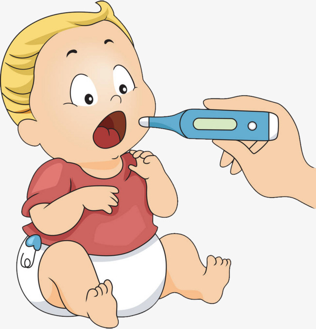 Fever clipart body temperature. Cartoon baby measuring have