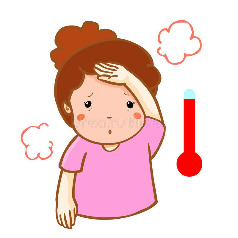 Woman got high cartoon. Fever clipart body temperature png royalty free stock