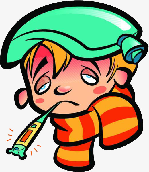Fever clipart today. Cartoon sick baby with
