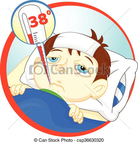 Sick boy with a. Fever clipart svg royalty free