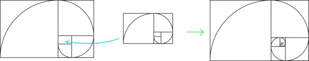 Learn to draw golden. Fibonacci drawing easy graphic library stock
