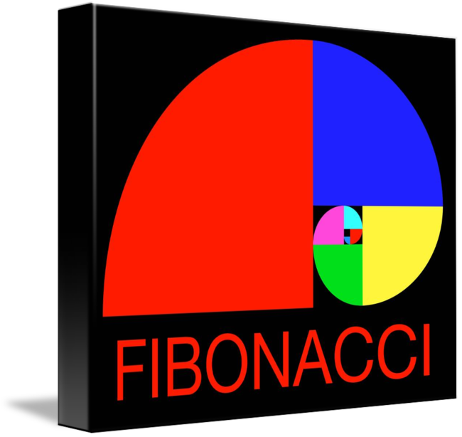 Fibonacci drawing graphic design. Golden ratio spiral by