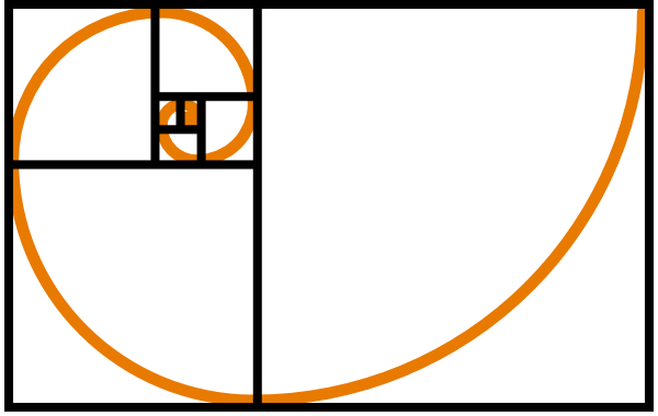 Fibonacci vector dot. Spiral orange clip art