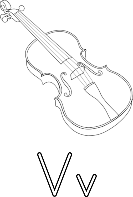 Fiddle drawing sketch. Violin viola coloring book