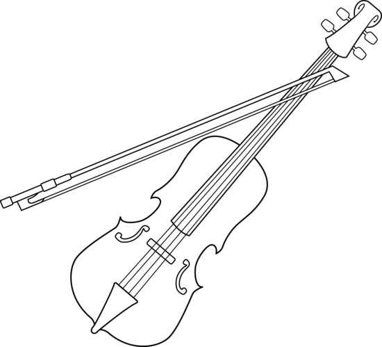 Fiddle drawing cartoon. Colorable violin design free