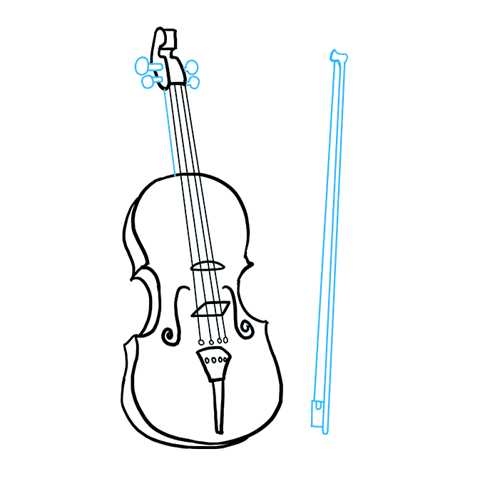 Fiddle drawing sketch. How to draw a