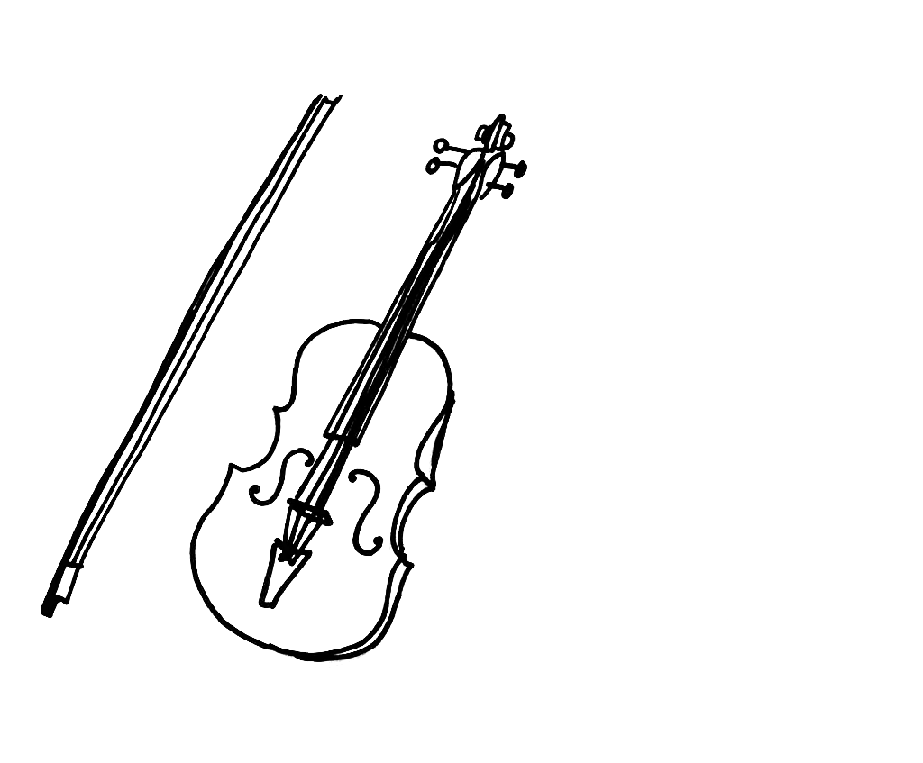 Fiddle drawing still life. Instrument violin for