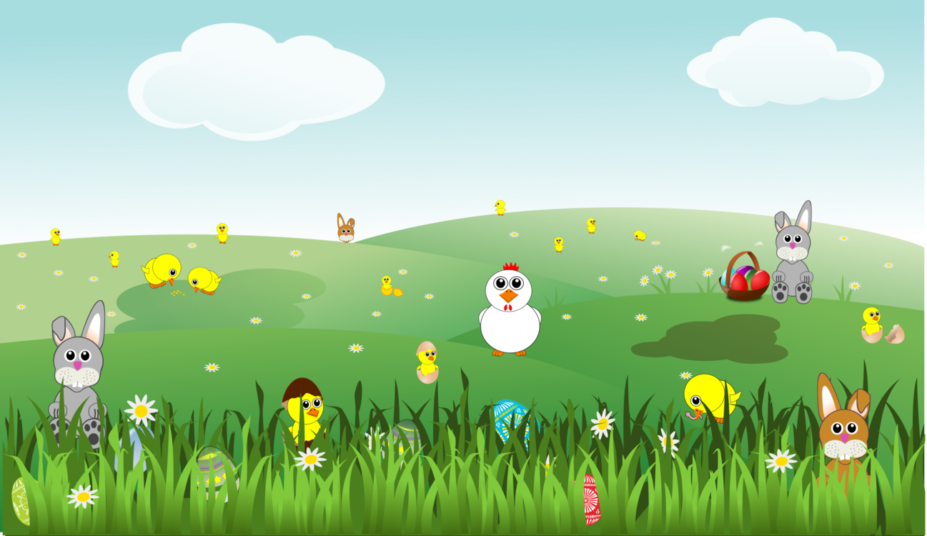 Field clipart scenery. Easter landscape chicken rabbit