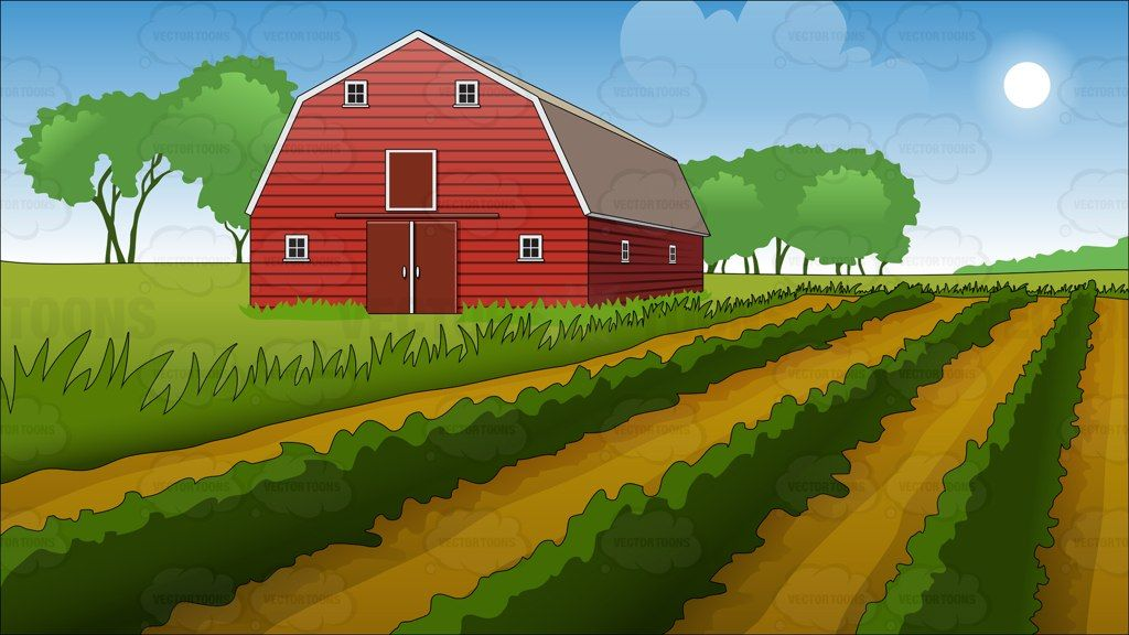 Field clipart scenery. Farm and barn background