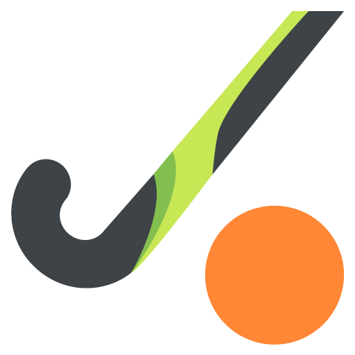 Field hockey stick clipart filled in png. And ball emoji for
