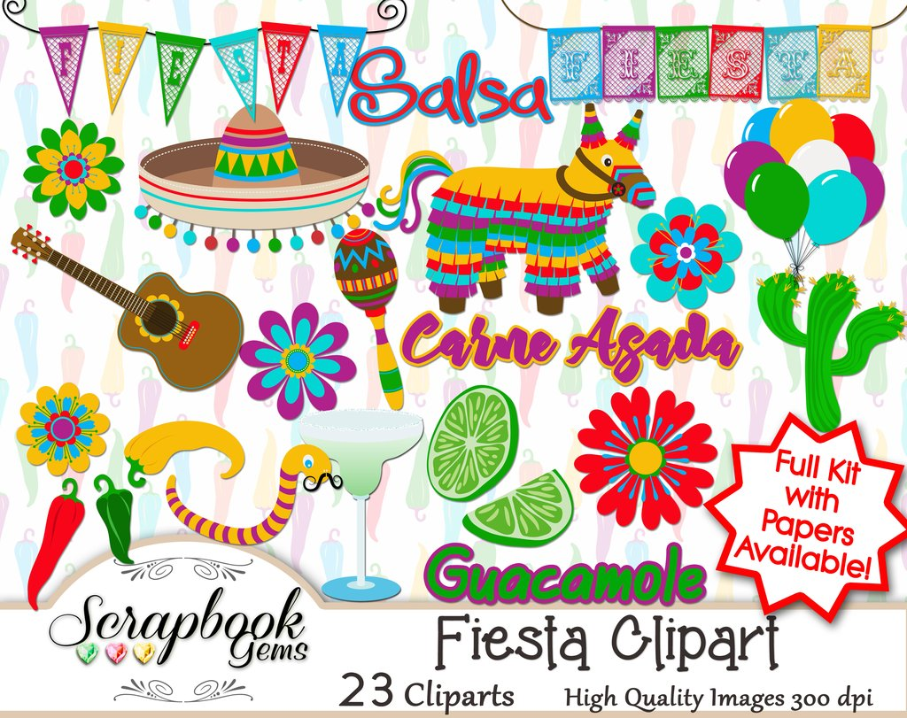 Fiesta clipart. Papers scrapbook gems