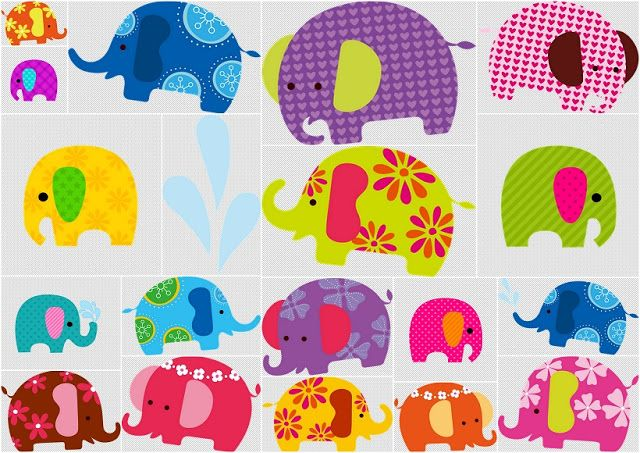 Fiesta clipart colorful. Cute colored elephants oh