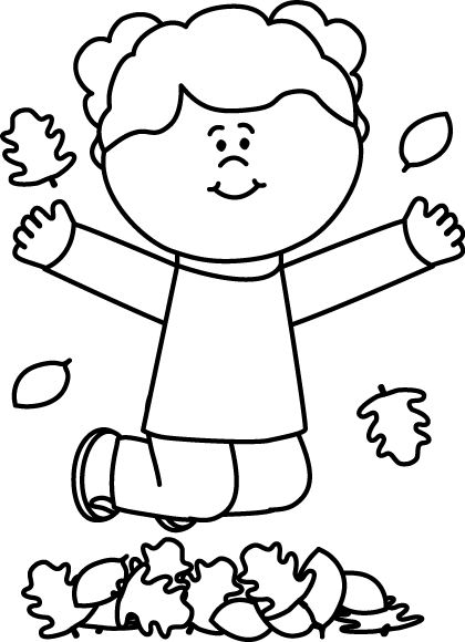 Black and white girl. Jump clipart leaf pile banner free stock