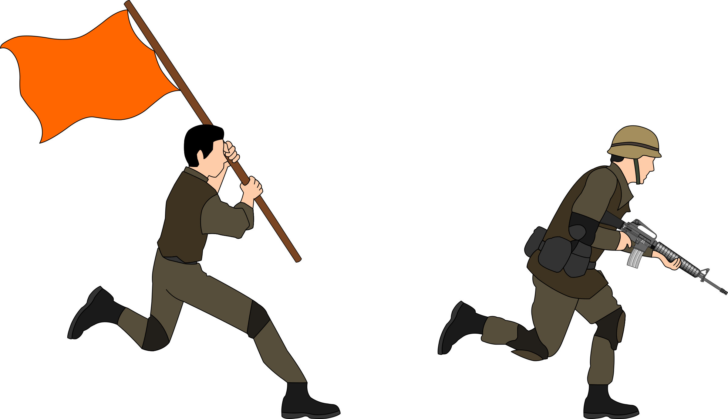 Fight clipart soldier. Soldiers charging big image