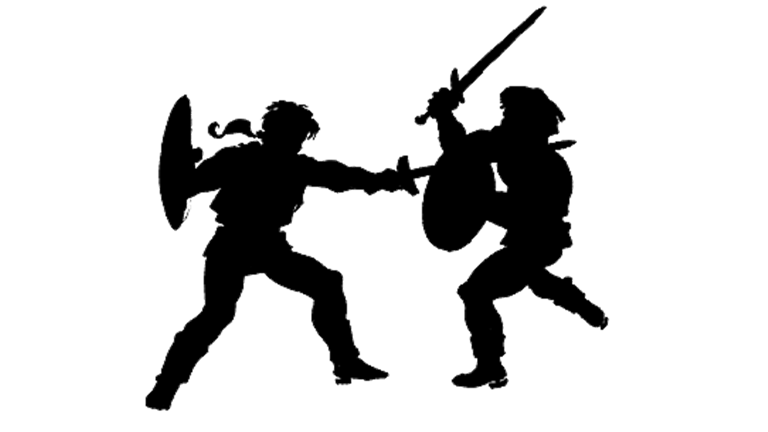 Fight clipart sword. Two people fighting group
